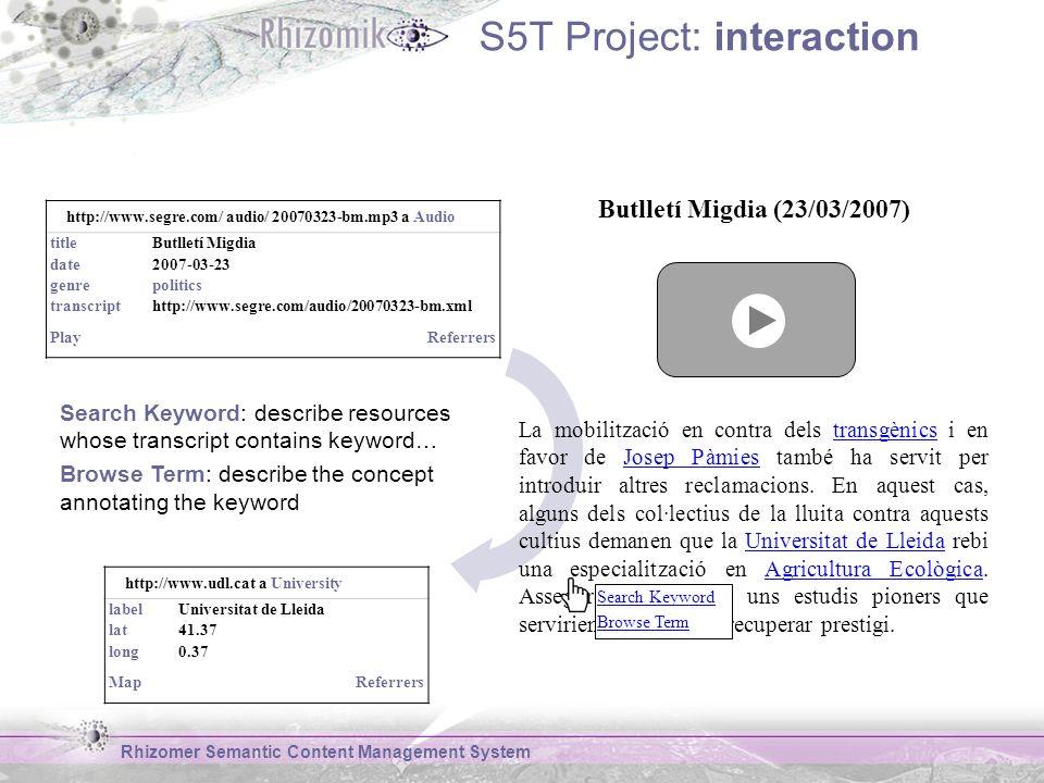 S5T Project: interaction Rhizomer Semantic Content Management System Butlletí Migdia (23/03/2007) La mobilització en contra dels transgènics i en favor de Josep Pàmies també ha servit per introduir altres reclamacions.