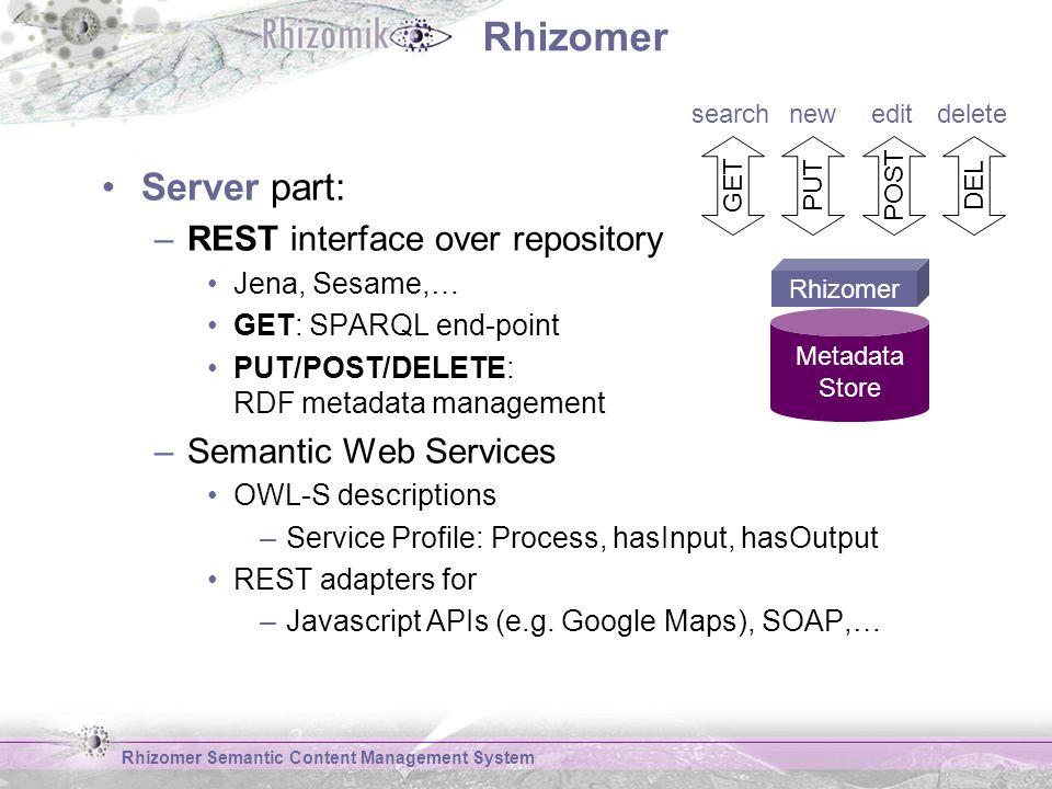 Rhizomer Server part: –REST interface over repository Jena, Sesame,… GET: SPARQL end-point PUT/POST/DELETE: RDF metadata management –Semantic Web Services OWL-S descriptions –Service Profile: Process, hasInput, hasOutput REST adapters for –Javascript APIs (e.g.