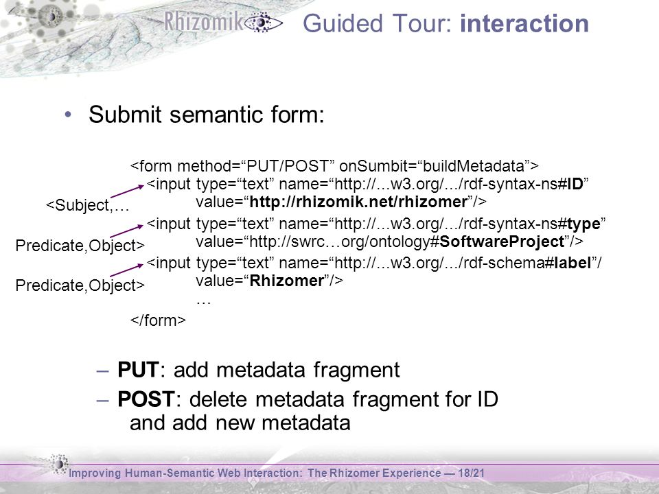 Improving Human-Semantic Web Interaction: The Rhizomer Experience 18/21 Guided Tour: interaction Submit semantic form: … –PUT: add metadata fragment –
