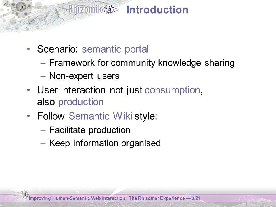 Improving Human-Semantic Web Interaction: The Rhizomer Experience 3/21 Introduction Scenario: semantic portal –Framework for community knowledge shari
