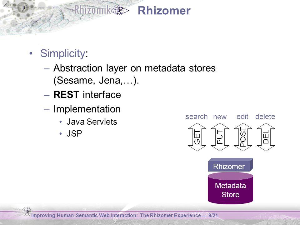 Improving Human-Semantic Web Interaction: The Rhizomer Experience 9/21 Rhizomer Simplicity: –Abstraction layer on metadata stores (Sesame, Jena,…). –R