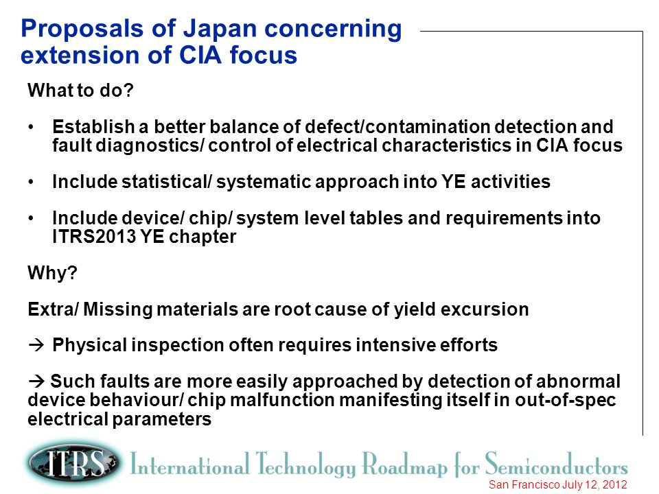 17 San Francisco July 12, 2012 Proposals of Japan concerning extension of CIA focus What to do? Establish a better balance of defect/contamination det