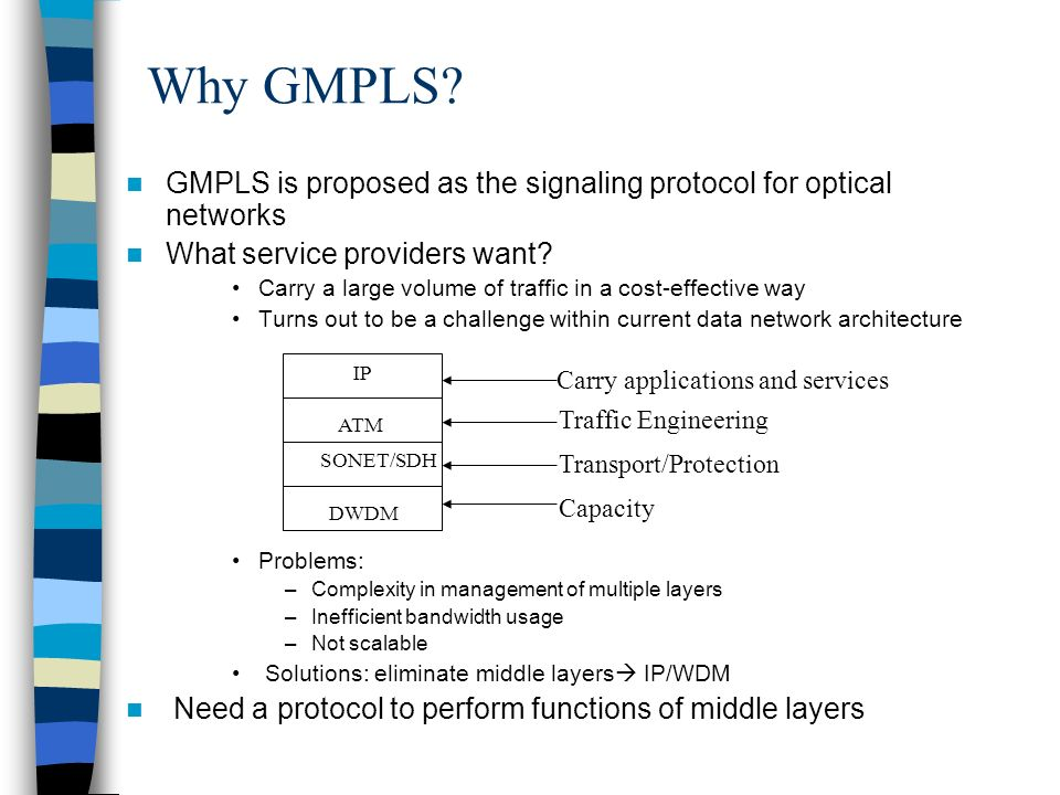 Why GMPLS? GMPLS is proposed as the signaling protocol for optical networks What service providers want? Carry a large volume of traffic in a cost-eff