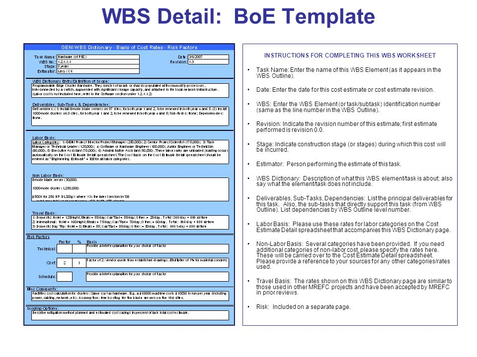 WBS Detail: BoE Template INSTRUCTIONS FOR COMPLETING THIS WBS WORKSHEET Task Name: Enter the name of this WBS Element (as it appears in the WBS Outline).