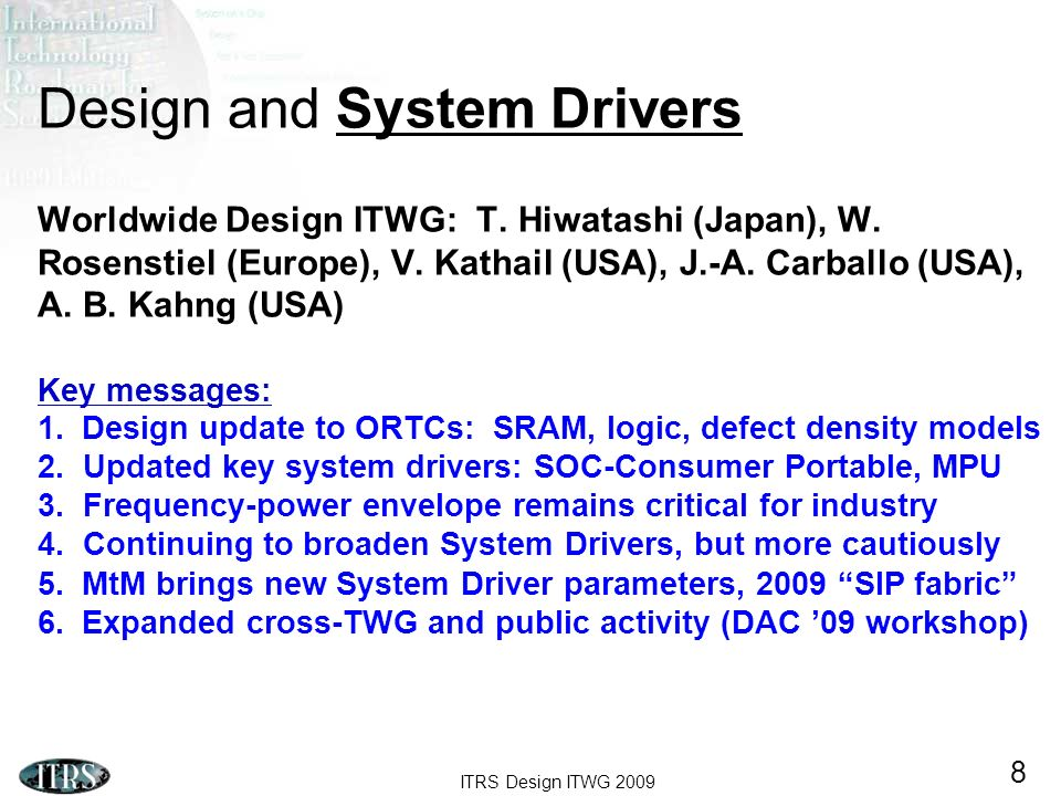 ITRS Design ITWG 2009 8 Design and System Drivers Worldwide Design ITWG: T. Hiwatashi (Japan), W. Rosenstiel (Europe), V. Kathail (USA), J.-A. Carball