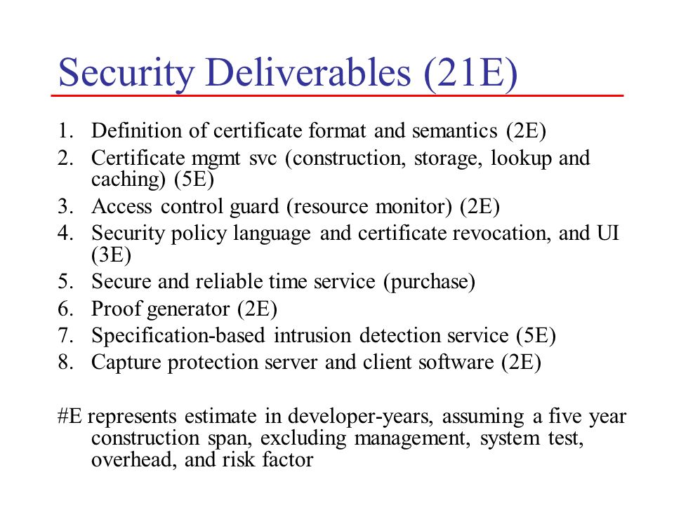 Security Deliverables (21E) 1.Definition of certificate format and semantics (2E) 2.Certificate mgmt svc (construction, storage, lookup and caching) (