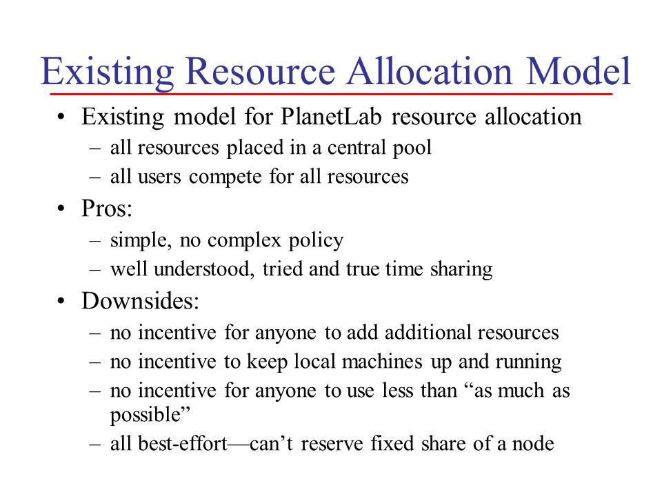 Existing Resource Allocation Model Existing model for PlanetLab resource allocation –all resources placed in a central pool –all users compete for all