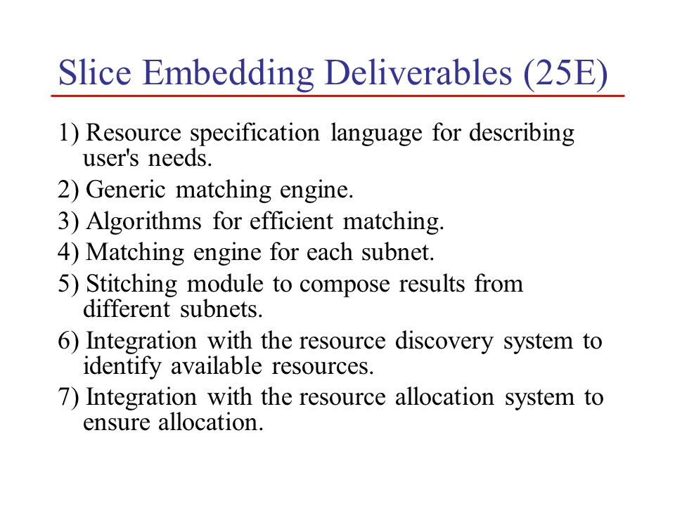 Slice Embedding Deliverables (25E) 1) Resource specification language for describing user's needs. 2) Generic matching engine. 3) Algorithms for effic