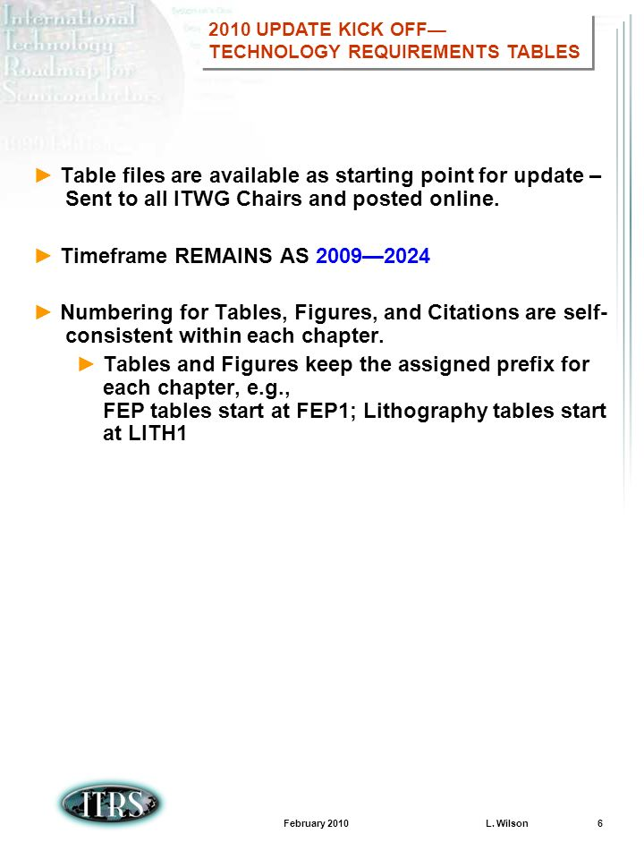 February 2010 L. Wilson 6 Table files are available as starting point for update – Sent to all ITWG Chairs and posted online. Timeframe REMAINS AS 200
