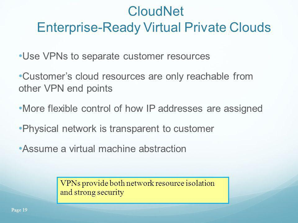 Page 19 CloudNet Enterprise-Ready Virtual Private Clouds Use VPNs to separate customer resources Customers cloud resources are only reachable from oth