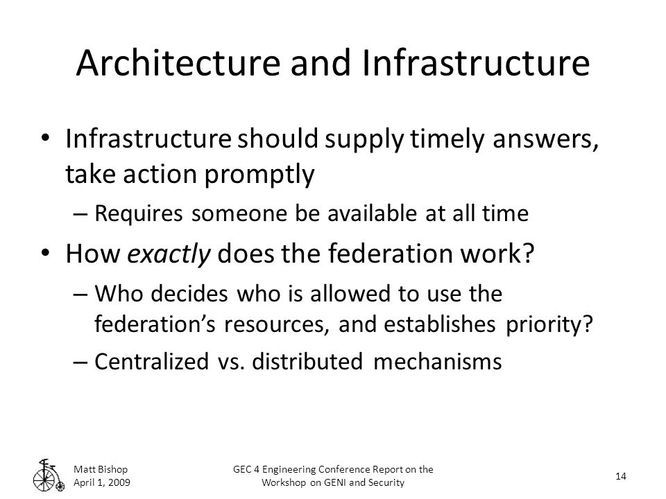 Architecture and Infrastructure Infrastructure should supply timely answers, take action promptly – Requires someone be available at all time How exactly does the federation work.