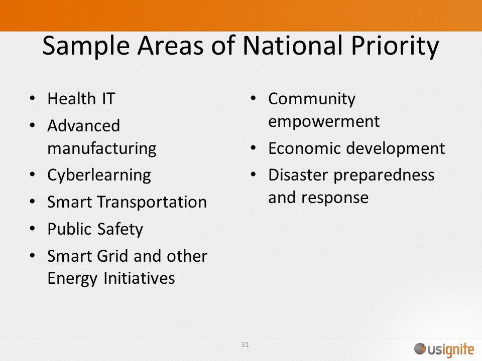 Sample Areas of National Priority Health IT Advanced manufacturing Cyberlearning Smart Transportation Public Safety Smart Grid and other Energy Initiatives Community empowerment Economic development Disaster preparedness and response 31