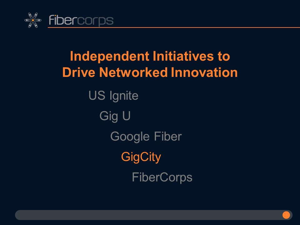 Independent Initiatives to Drive Networked Innovation US Ignite Gig U Google Fiber GigCity FiberCorps