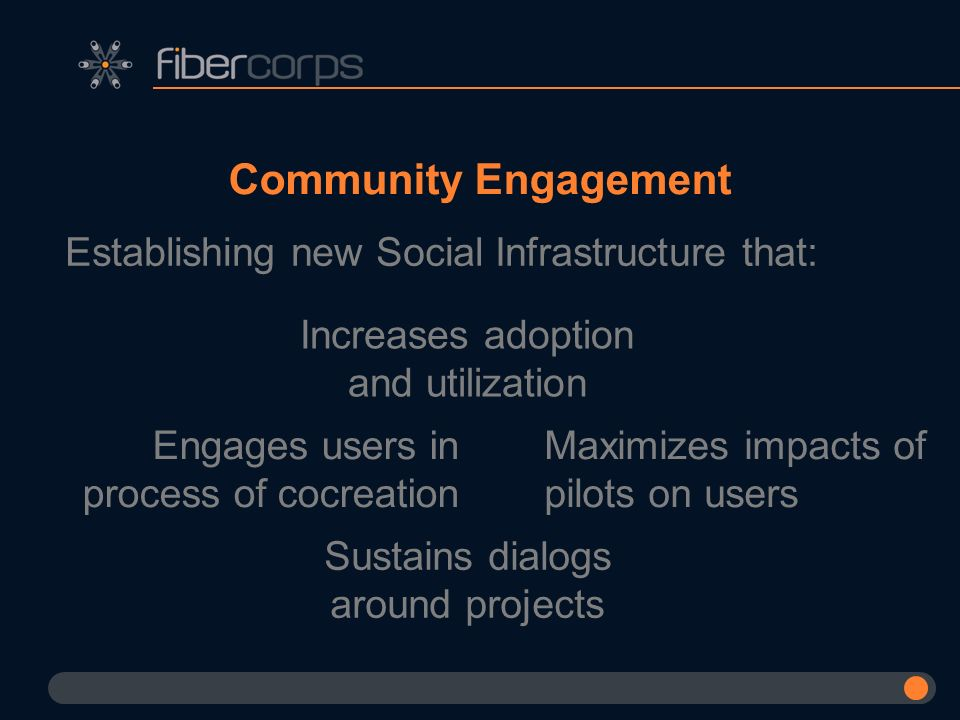 Community Engagement Establishing new Social Infrastructure that: Increases adoption and utilization Maximizes impacts of pilots on users Sustains dia