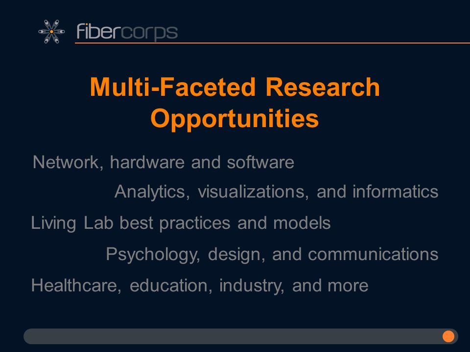Multi-Faceted Research Opportunities Network, hardware and software Analytics, visualizations, and informatics Living Lab best practices and models Ps
