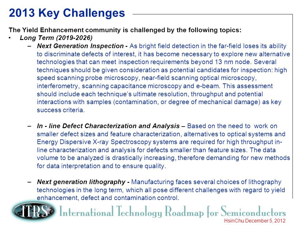 10 HsinChu December 5, 2012 2013 Key Challenges The Yield Enhancement community is challenged by the following topics: Long Term (2019-2026) –Next Gen