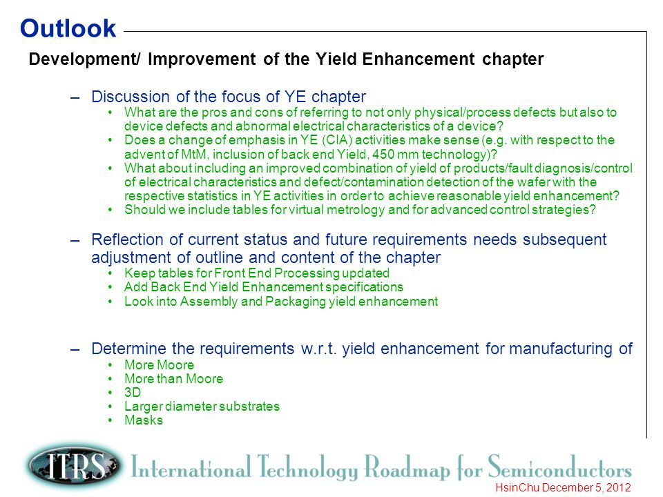 20 HsinChu December 5, 2012 Outlook Development/ Improvement of the Yield Enhancement chapter –Discussion of the focus of YE chapter What are the pros