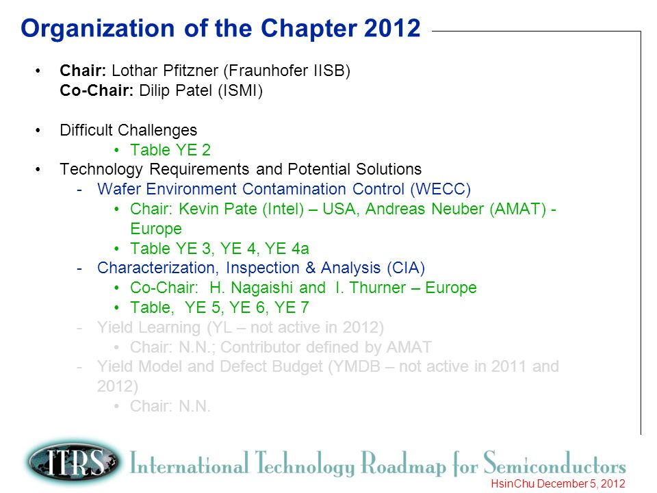 7 HsinChu December 5, 2012 Organization of the Chapter 2012 Chair: Lothar Pfitzner (Fraunhofer IISB) Co-Chair: Dilip Patel (ISMI) Difficult Challenges