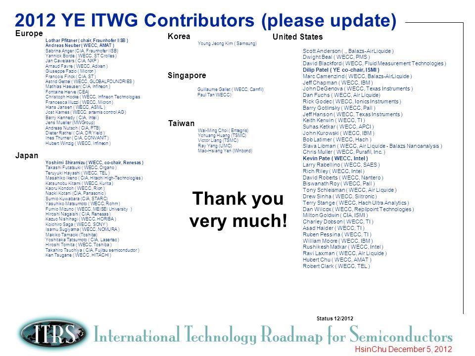 8 HsinChu December 5, 2012 2012 YE ITWG Contributors (please update) Europe Lothar Pfitzner ( chair, Fraunhofer IISB ) Andreas Neuber ( WECC, AMAT ) S