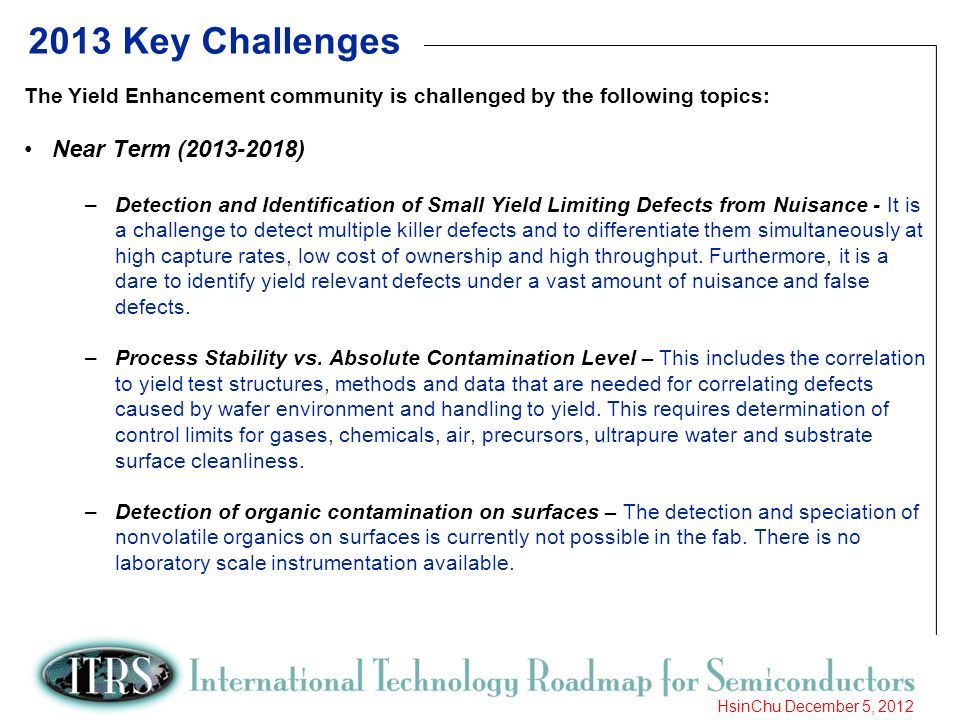 9 HsinChu December 5, 2012 2013 Key Challenges The Yield Enhancement community is challenged by the following topics: Near Term (2013-2018) –Detection