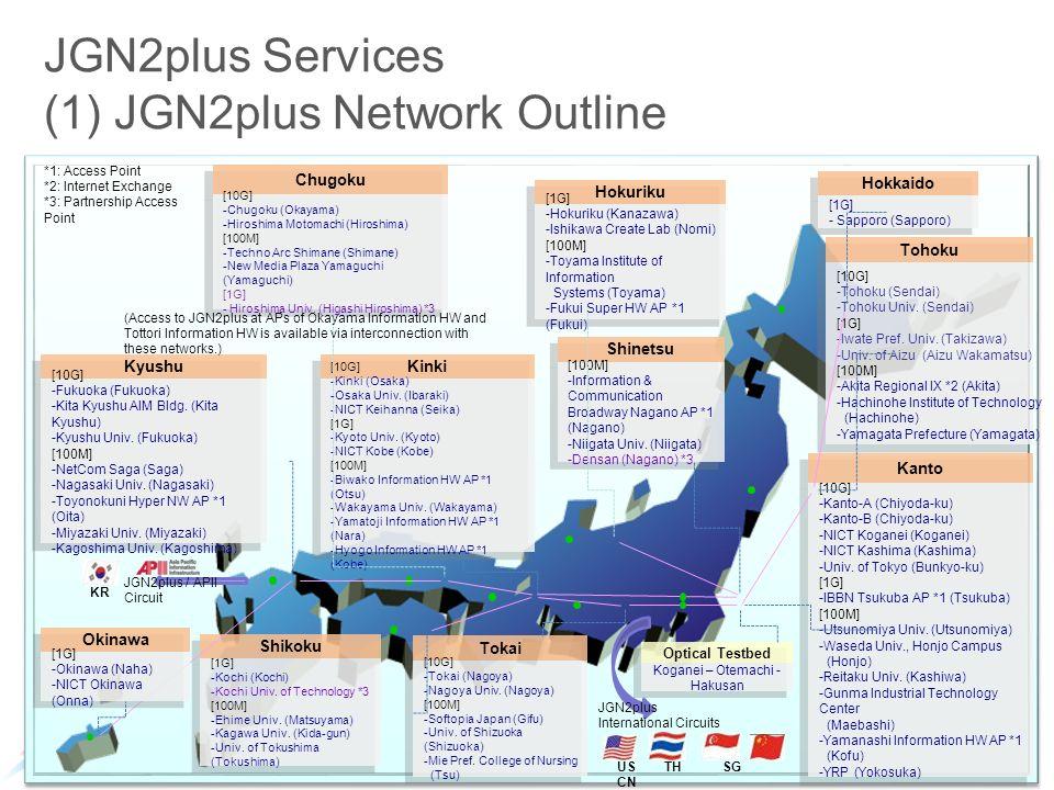 JGN2plus Services (1) JGN2plus Network Outline Hokkaido [1G] - Sapporo (Sapporo) Tohoku [10G] -Tohoku (Sendai) -Tohoku Univ.