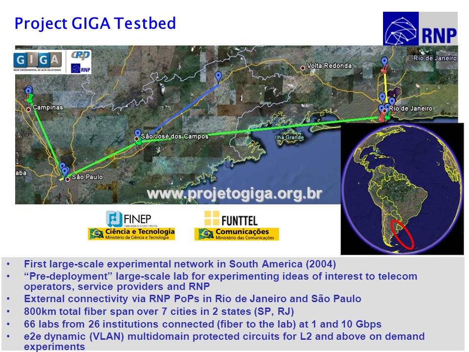 Project GIGA Testbed First large-scale experimental network in South America (2004) Pre-deployment large-scale lab for experimenting ideas of interest