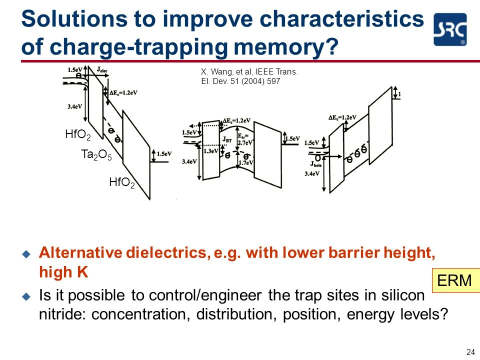 24 Solutions to improve characteristics of charge-trapping memory? u Alternative dielectrics, e.g. with lower barrier height, high K u Is it possible