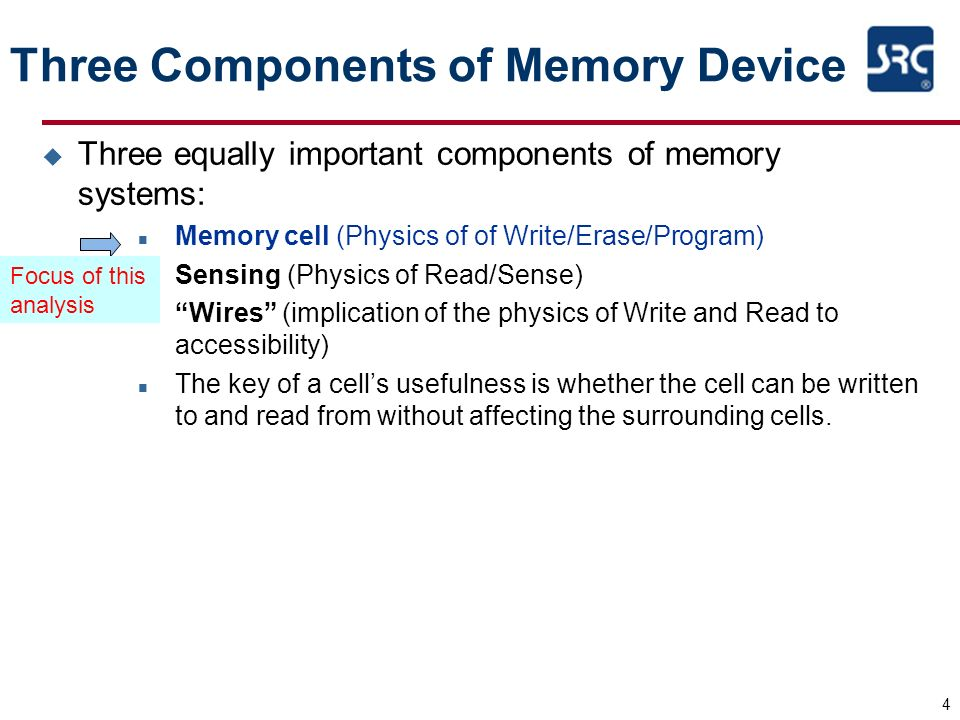 4 Three Components of Memory Device u Three equally important components of memory systems: n Memory cell (Physics of of Write/Erase/Program) n Sensin