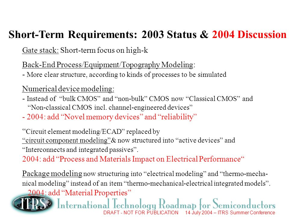 DRAFT - NOT FOR PUBLICATION 14 July 2004 – ITRS Summer Conference Short-Term Requirements: 2003 Status & 2004 Discussion Gate stack: Short-term focus on high-k Back-End Process/Equipment/Topography Modeling: - More clear structure, according to kinds of processes to be simulated Numerical device modeling: - Instead of bulk CMOS and non-bulk CMOS now Classical CMOS and Non-classical CMOS incl.