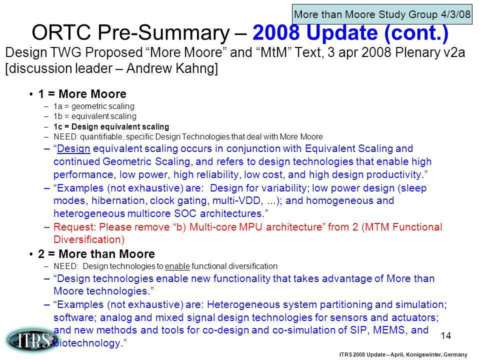 ITRS 2008 Update – April, Konigswinter, Germany 14 Design TWG Proposed More Moore and MtM Text, 3 apr 2008 Plenary v2a [discussion leader – Andrew Kah