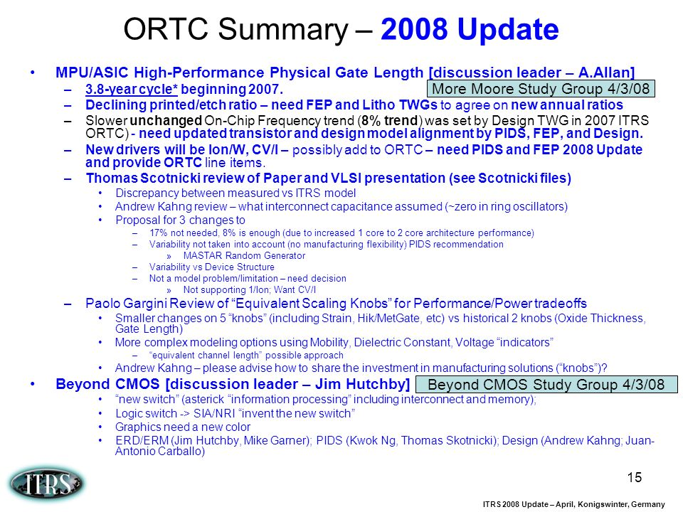 ITRS 2008 Update – April, Konigswinter, Germany 15 ORTC Summary – 2008 Update MPU/ASIC High-Performance Physical Gate Length [discussion leader – A.Al