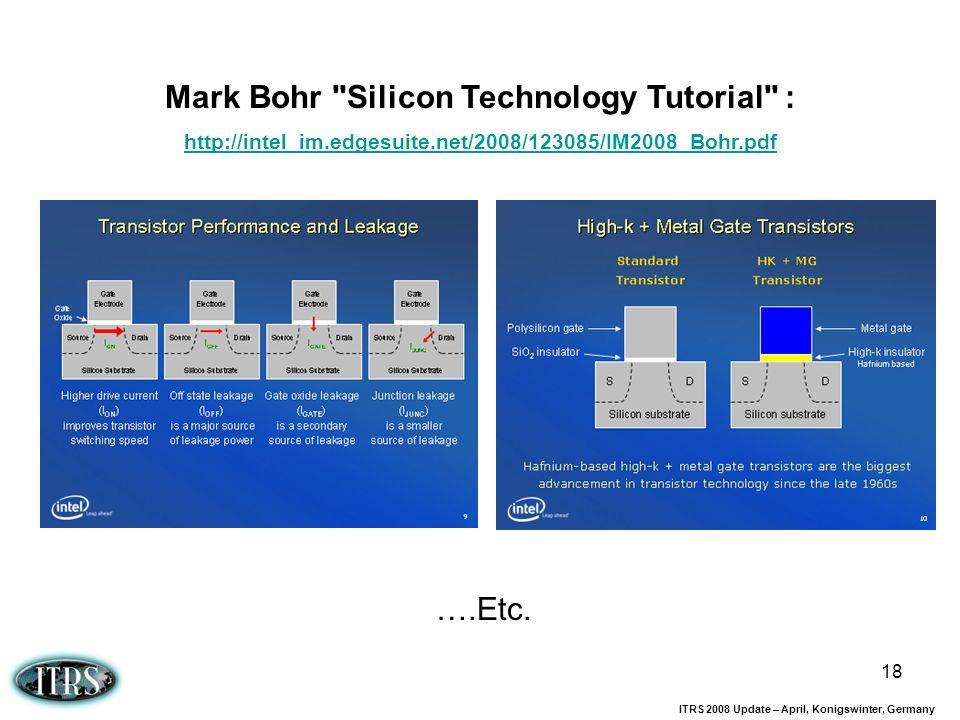 ITRS 2008 Update – April, Konigswinter, Germany 18 Mark Bohr