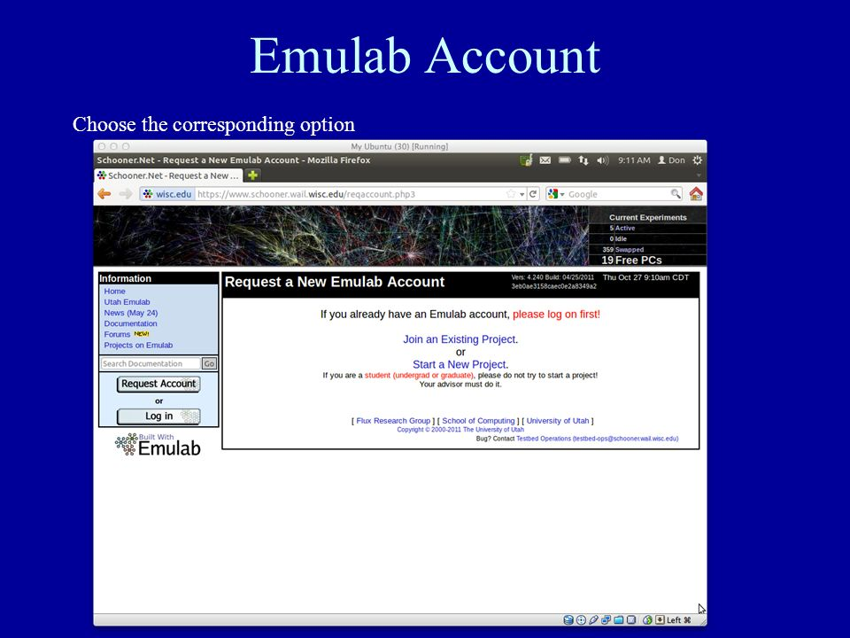 Emulab Account Choose the corresponding option