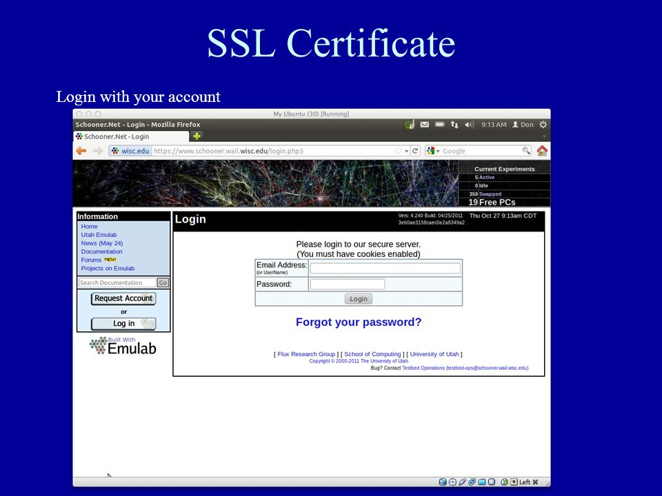 SSL Certificate Login with your account