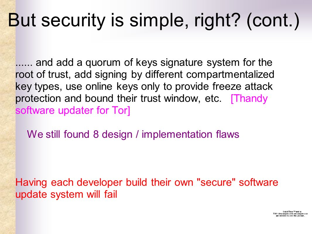 But security is simple, right. (cont.)......