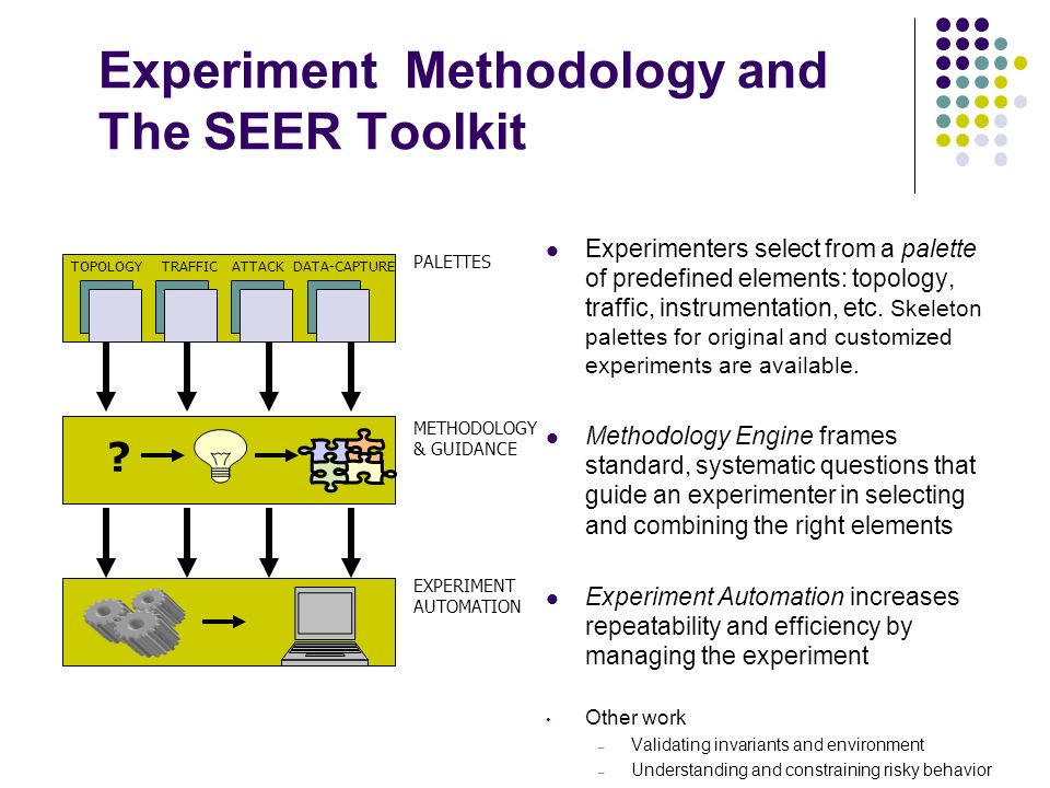 Experiment Methodology and The SEER Toolkit Experimenters select from a palette of predefined elements: topology, traffic, instrumentation, etc.
