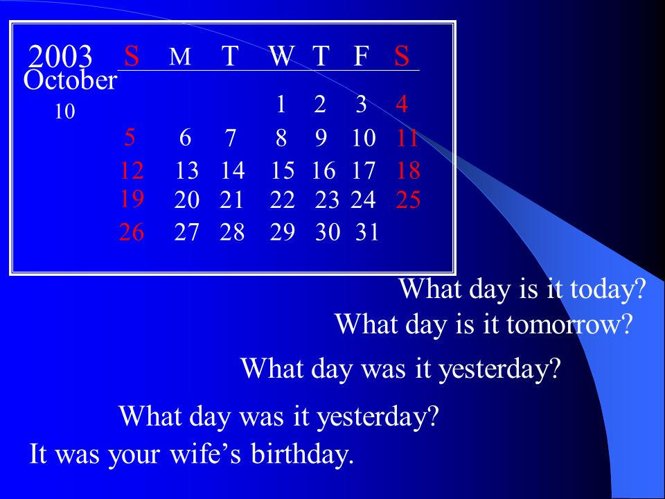 It was your wifes birthday. What day is it today.