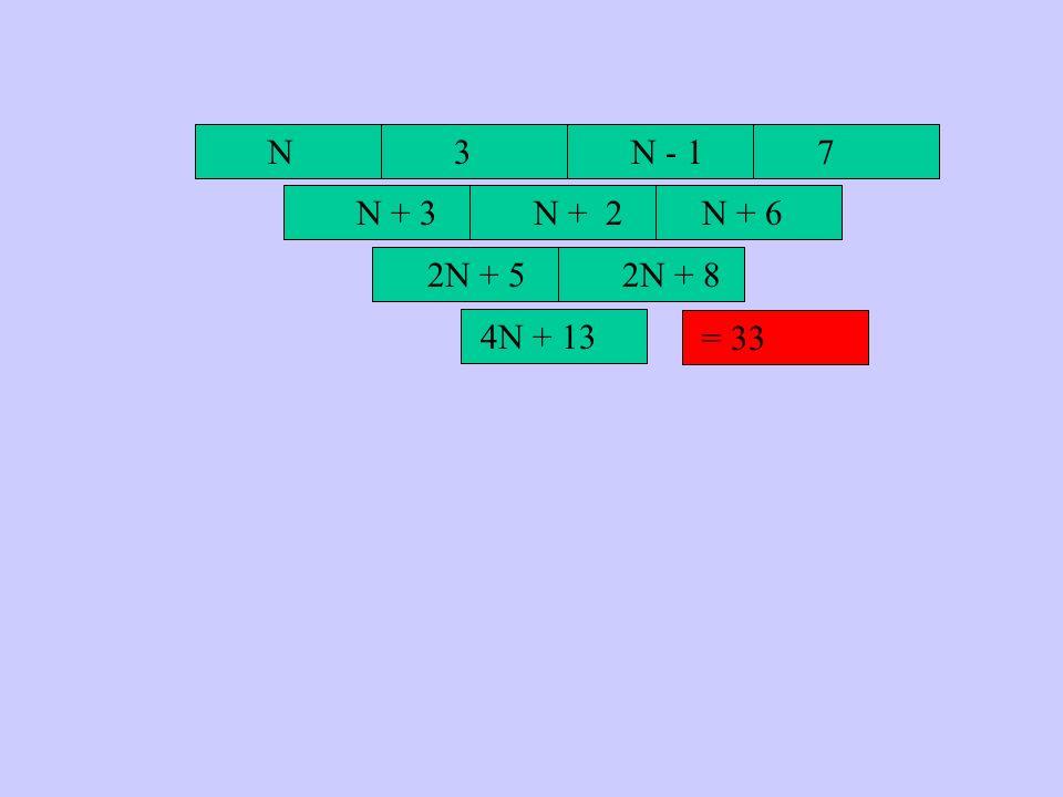 N 3 N - 1 7 N + 3 N + 2 N + 6 2N + 5 2N + 8 4N + 13 = 33