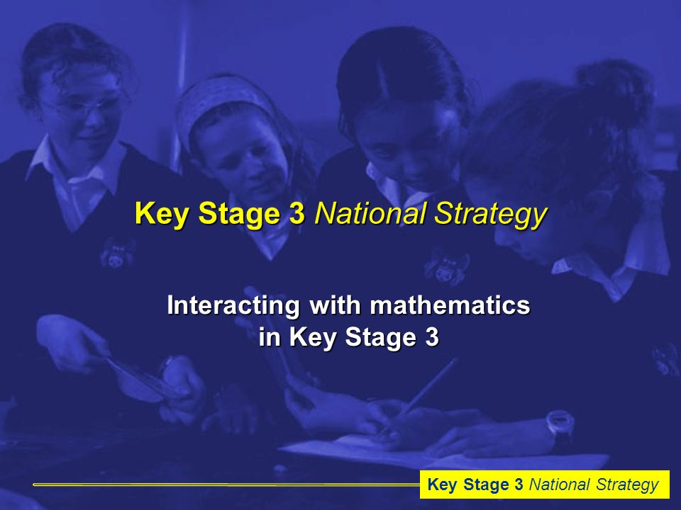 Key Stage 3 National Strategy Interacting with mathematics in Key Stage 3