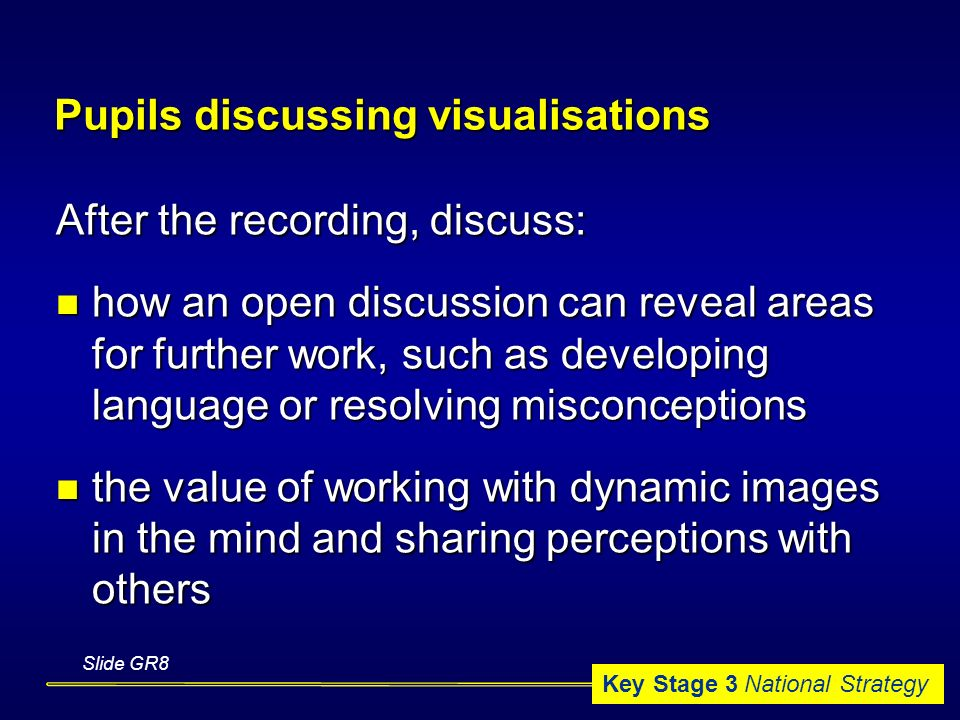 Key Stage 3 National Strategy Slide GR8 Pupils discussing visualisations After the recording, discuss: how an open discussion can reveal areas for further work, such as developing language or resolving misconceptions how an open discussion can reveal areas for further work, such as developing language or resolving misconceptions the value of working with dynamic images in the mind and sharing perceptions with others the value of working with dynamic images in the mind and sharing perceptions with others