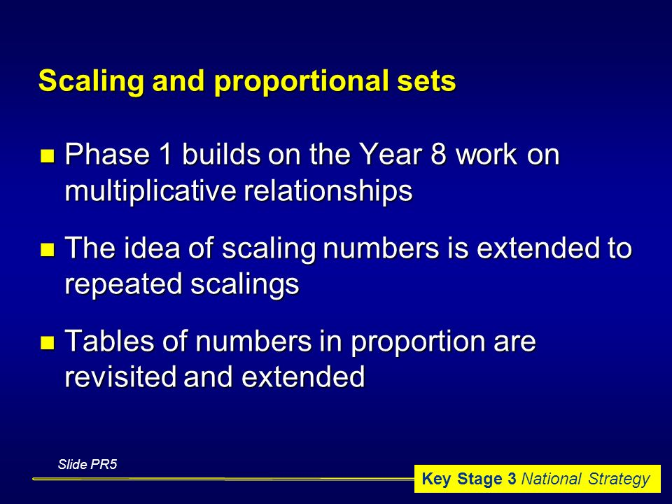 Key Stage 3 National Strategy Scaling and proportional sets Phase 1 builds on the Year 8 work on multiplicative relationships Phase 1 builds on the Year 8 work on multiplicative relationships The idea of scaling numbers is extended to repeated scalings The idea of scaling numbers is extended to repeated scalings Tables of numbers in proportion are revisited and extended Tables of numbers in proportion are revisited and extended Slide PR5