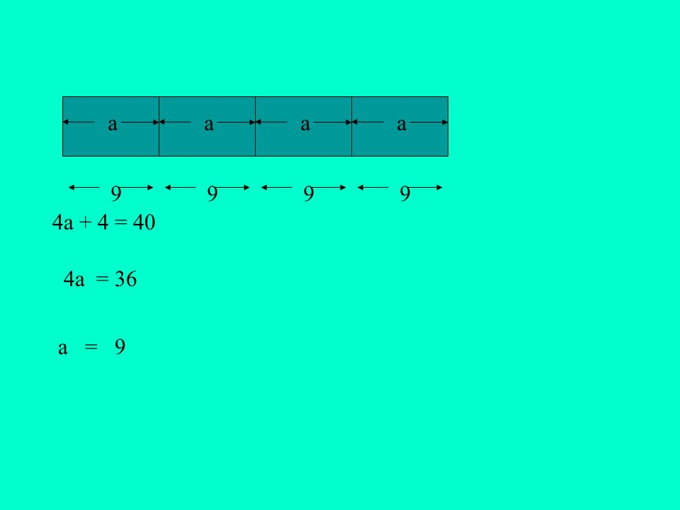 aaa a = a 4a + 4 = 40 4a = 36 9999 9