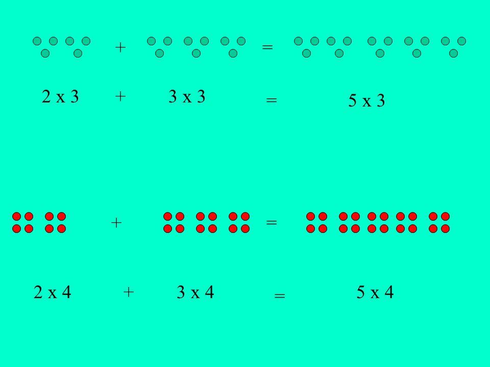 2 x 3 3 x 3 5 x 3 + + = = 2 x 4 3 x 45 x 4+ = +=