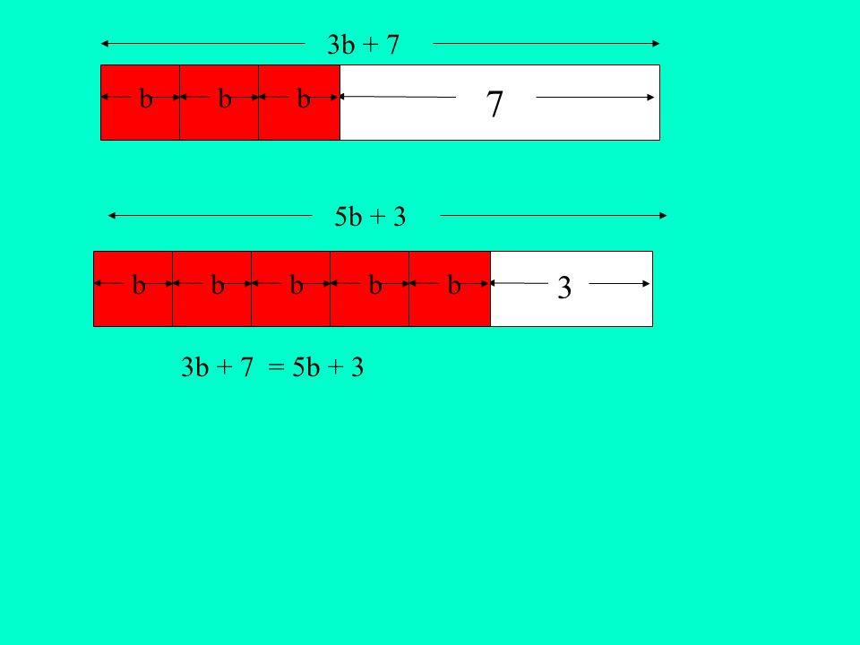 b 3 bbbbb 7 bb 3b + 7 5b + 3 3b + 7 = 5b + 3