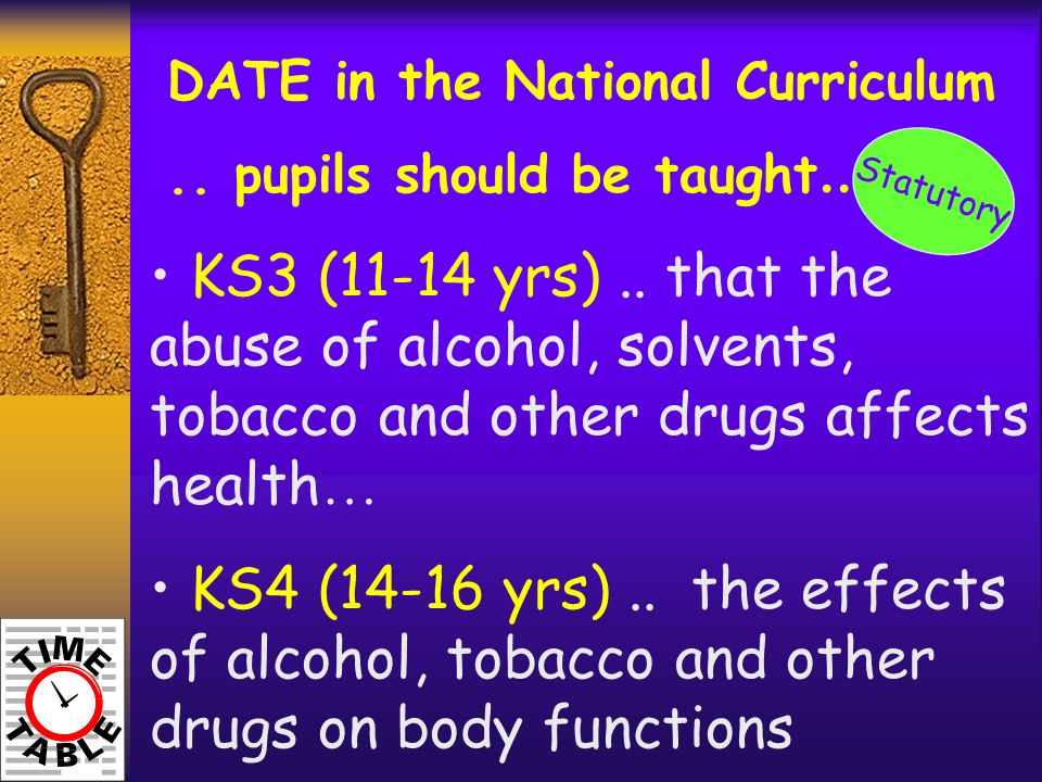 DATE in the National Curriculum.. pupils should be taught …. KS3 (11-14 yrs).. that the abuse of alcohol, solvents, tobacco and other drugs affects he