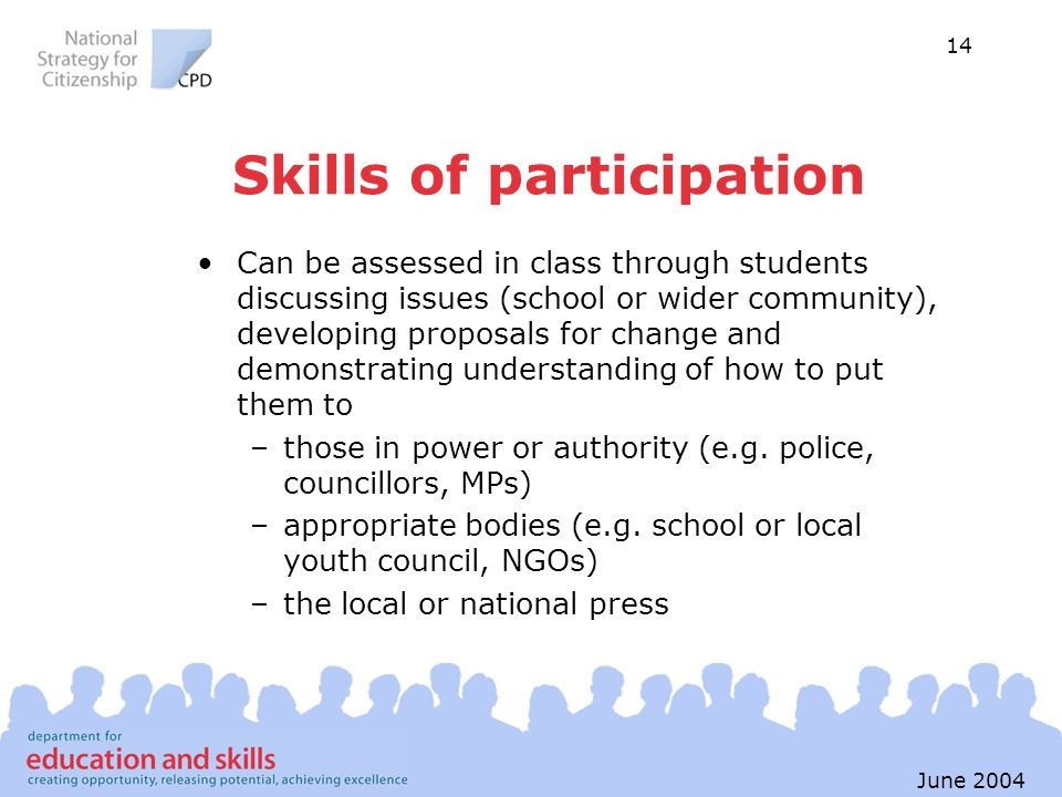 14 June 2004 Skills of participation Can be assessed in class through students discussing issues (school or wider community), developing proposals for