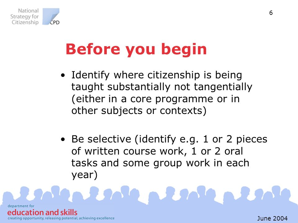 6 June 2004 Before you begin Identify where citizenship is being taught substantially not tangentially (either in a core programme or in other subject