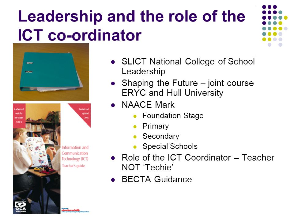 Leadership and the role of the ICT co-ordinator SLICT National College of School Leadership Shaping the Future – joint course ERYC and Hull University