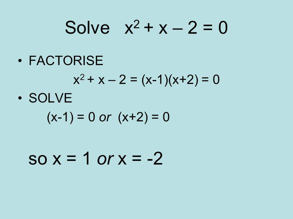 Solve x 2 + 4x + 3 = 0 Firstly we must FACTORISE x 2 + 4x + 3 = (x+1)(x+3) = 0 Then we SOLVE IT x+1 = 0 or x+3 = 0 so x = -1 or x = -3