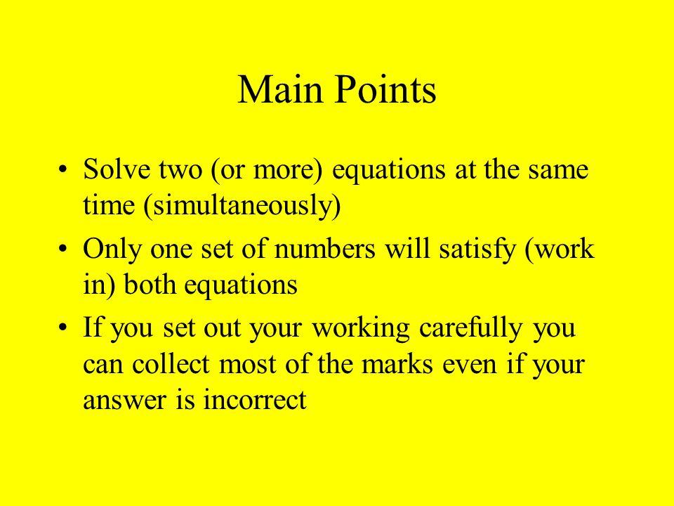 Simultaneous Equations The Bare Bones
